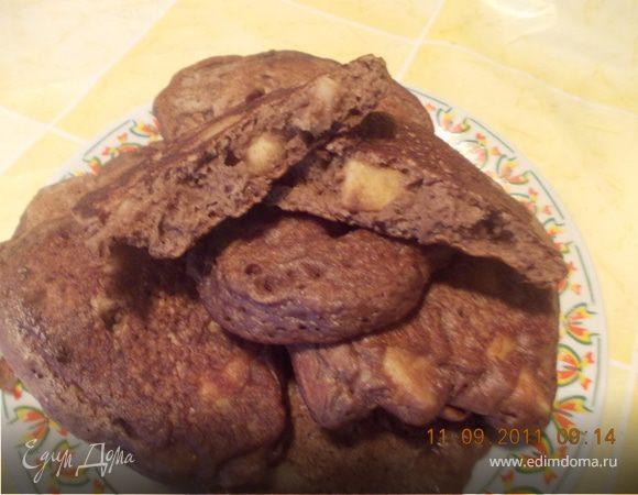 шоколадные оладушки с яблоками