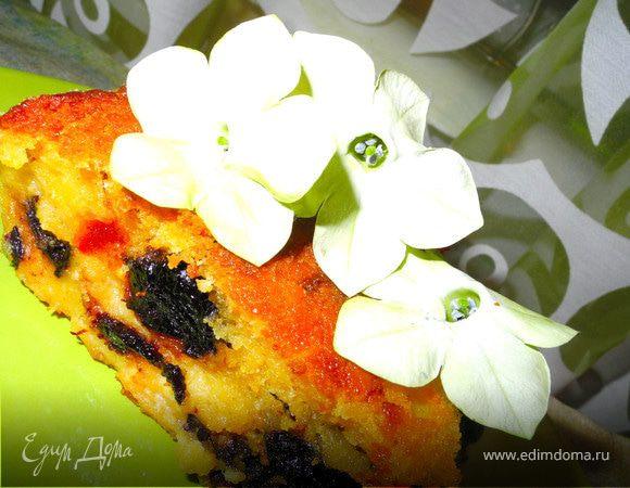 Кукурузно-творожный пудинг-пирог с сухофруктами