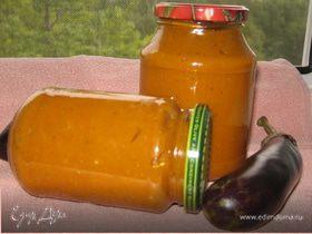 Баклажанная икра из запеченных баклажан и перцев