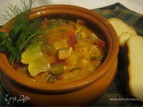 Овощная солянка с рыбой.