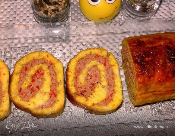 Мясной рулет в сырной корочке