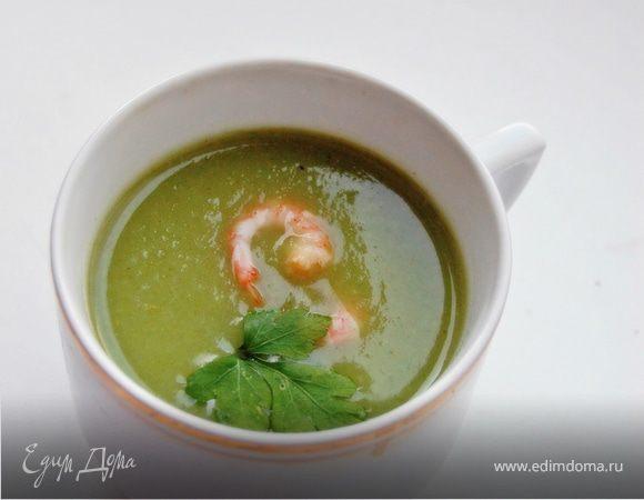 суп-пюре из брокколи с креветками