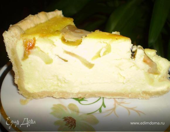Творожный пирог с тушеными яблоками