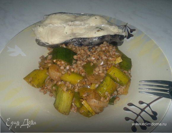 Гречотто луковое (вариант номер 3) + отварной стейк из зубатки