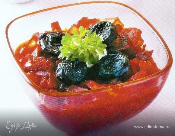 Вегетарианский борщ с черносливом