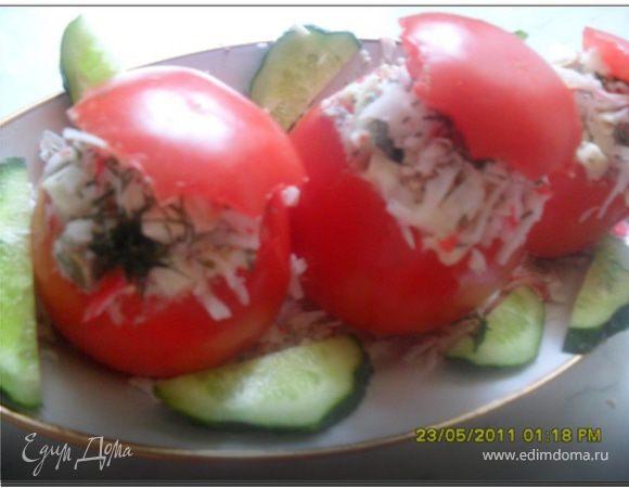 Фаршированные помидоры с печенью трески