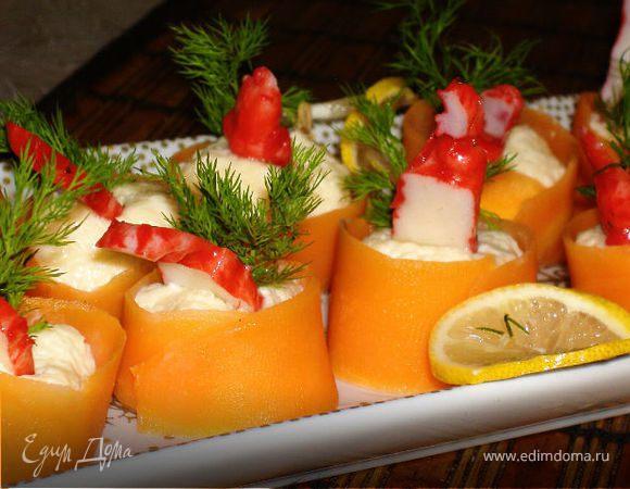 Роллы из моркови с креветками