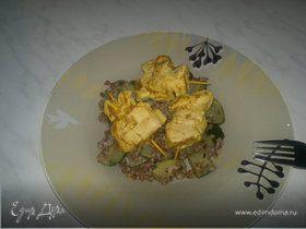 Гречетто с пивом портер и цукини и шашлык из куриной грудки в индийском стиле
