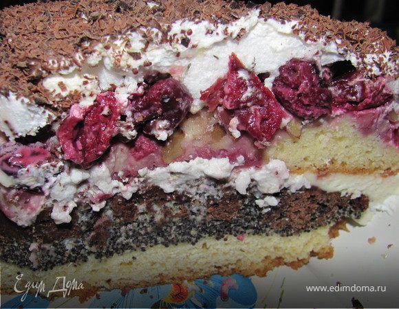 Торт маково-ореховый с вишнями