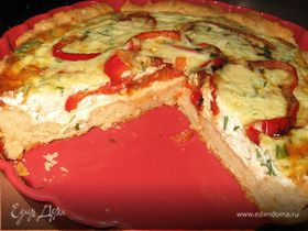 Пирог с перцем и помидорами.