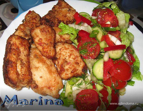 Кусочки куриной грудки в маринаде