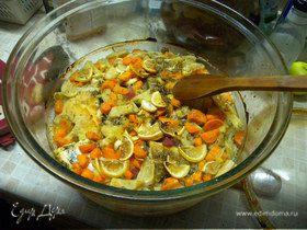 Треска запеченная с овощами