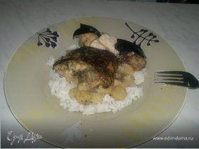 Сом из горшочка с рисом и сельдереем с лесными грибами