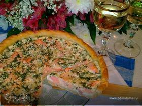 Лоранский пирог с красной рыбой