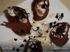 Шоколадные роллы (или шоколадные блинчики с маскарпоне и грушей)