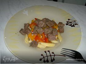 Паста с говядиной в 3 видах перца и бальзамике, сладкая тыква и перец с ченоком
