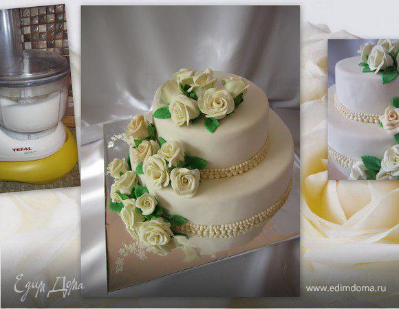 """Торт """"Белые розы"""""""