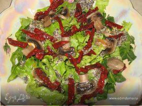 Зеленый салат с маковой заправкой