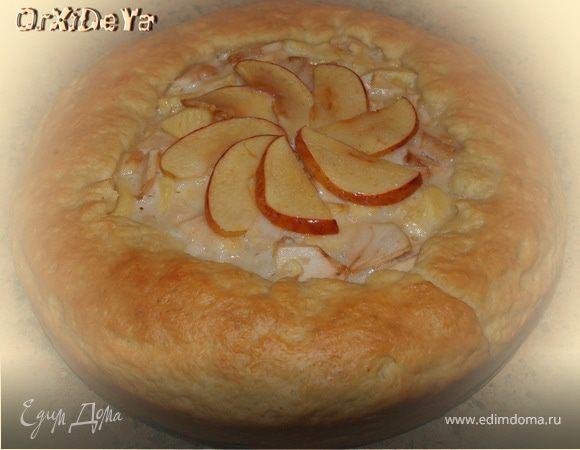 Яблочный пирог из вкусного теста со сливочной заливкой