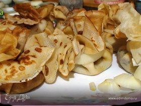 Блинные мешочки с грибами