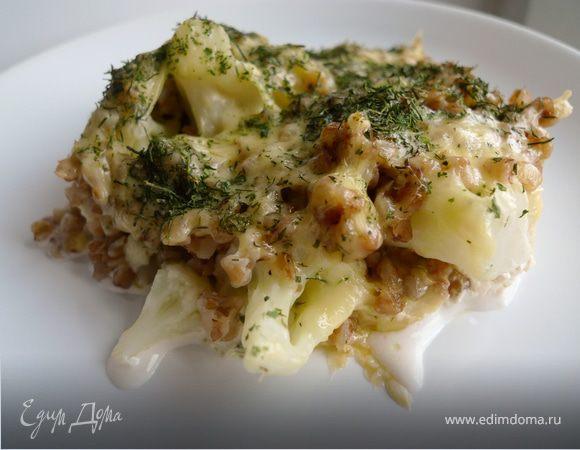 Запеканка из гречи и цветной капусты под сырной корочкой