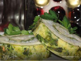 Рулет-омлет со шпинатом