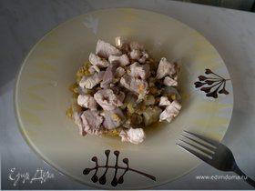 Чечевица с баклажаном и чили перцем, мясо птицы с имбирем