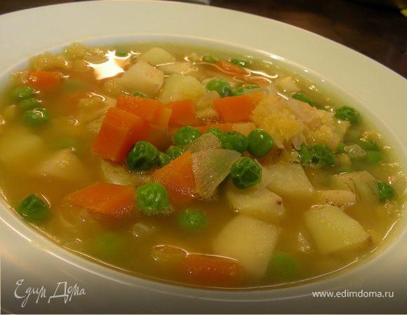 Легкий гороховый суп с сельдереем (постный)