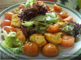 Салат с курочкой,черри и легким апельсиновым дрессингом.