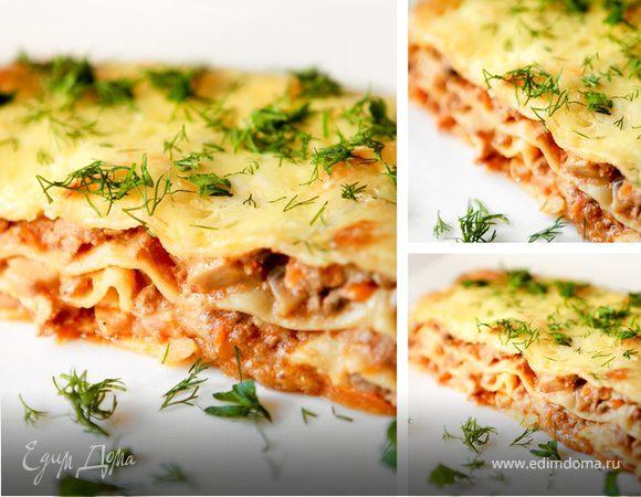 лазанья рецепт с фаршем и грибами рецепт с фото