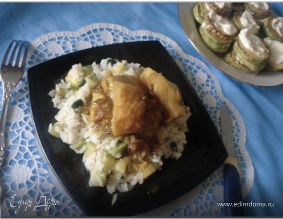 Рыба под манговым соусом и рис с черемшой