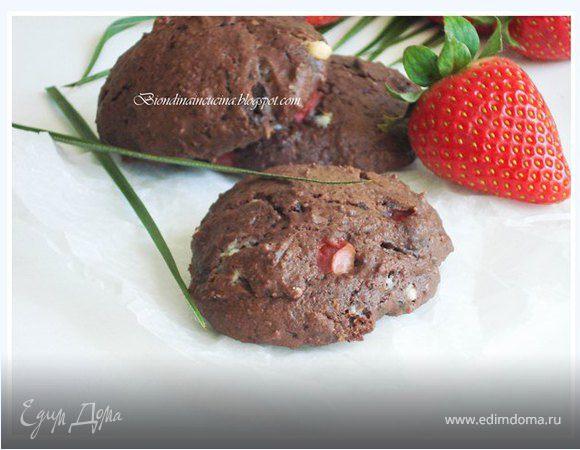 Мега шоколадные сконы с клубникой