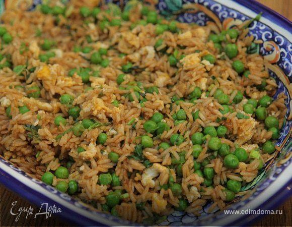 Рис с яйцами и зеленым горошком по-индонезийски