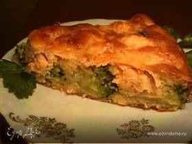 Пирог с семгой и брокколи