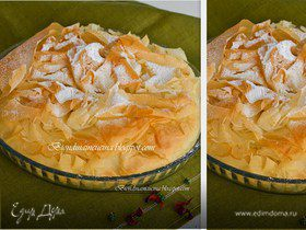 Пирог из теста фило с начинкой из шоколада,кокоса и банана