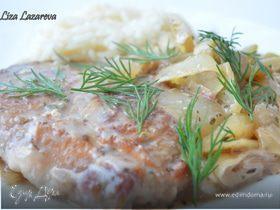 Свиные отбивные под греческим соусом