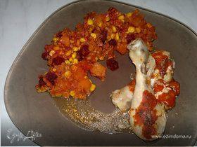 Куриные голени из духовки, чечевичное рагу с тыквой, кукурузой и свеклой