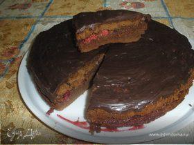 Шоколадный тортик с малиной