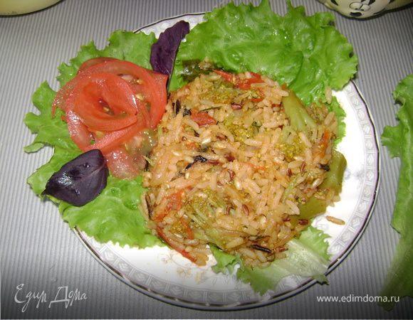 Соте из риса с брокколи
