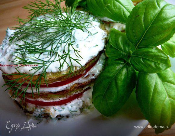 Башенки из кабачков с помидорами