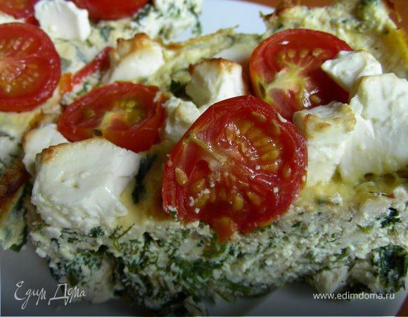 Творожный пирог-запеканка с летней зеленью, помидорами черри и фетой