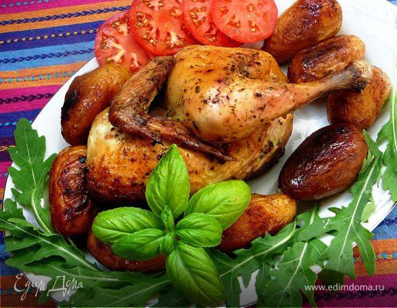 Цыпленок с картофелем, запеченные в рукаве