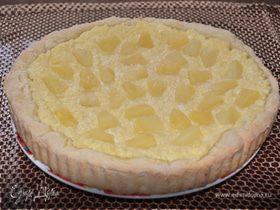 Пирог с творогом, кокосом и ананасом