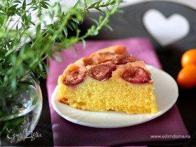 Перевернутый лимонно-сливовый пирог