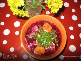 Свекольный суп-пюре на курином бульоне