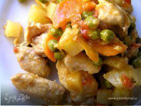 Быстрое жаркое из курицы с овощами