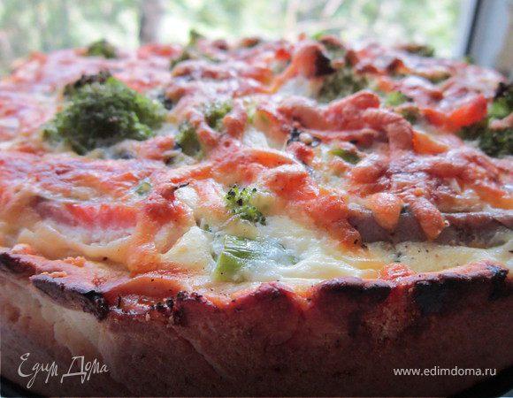 Пирог с брокколи и форелью