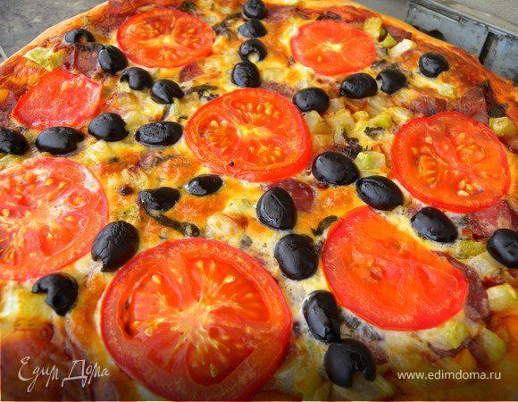 Сытная пицца с яично-сметанной заливкой