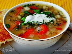 Суп куриный с рисом и сезонными овощами