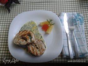 Осетр на гриле со сливочным соусом